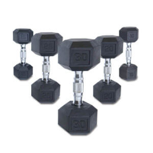 5-50lb Rubber Hex Dumbbell Set