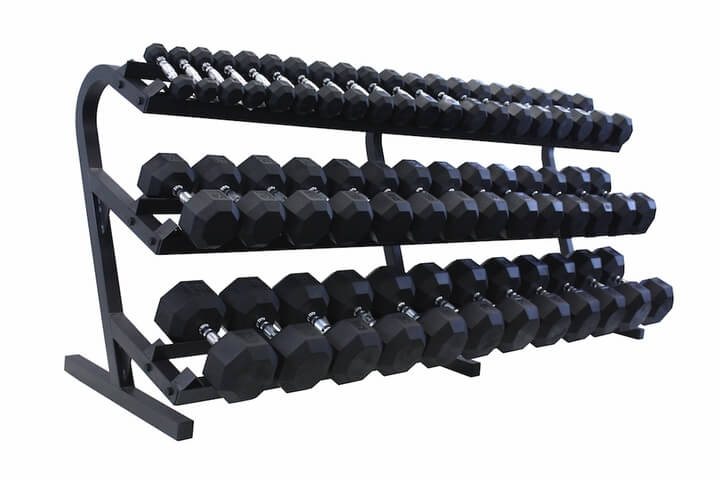 5-100lb Rubber Hex With Rack (New)